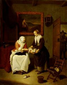 Interieur met een diensmeid die een vrouw vis aanbiedt