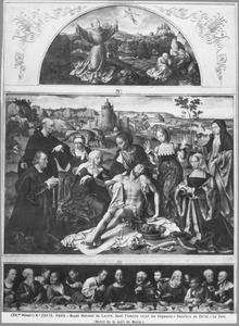 De H. Franciscus ontvangt de stigmata (lunet), de bewening (midden), het Laatste Avondmaal (predella)