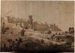 Figuren buiten de stadsmuren van La Valletta, Malta