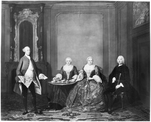 Portret van de familie van Pieter Kops Geerlingsz (1705-....) en Cornelia van Oosterwijk (1709-1775)