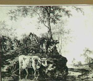 Rivierlandschap met koeien en herder