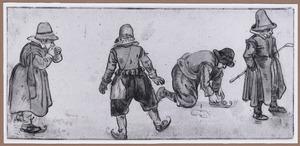 Drie jongens met schaatsen en een met kolfstok