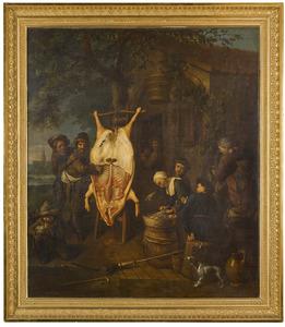 Geslacht varken met boerenfamilie