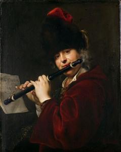 Portret van een dwarsfluitspeler, mogelijk de keizerlijke hoffluitist Ferdinand Josef Lemberger
