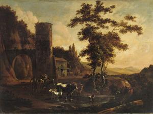 Zuidelijk landschap met boeren en vee nabij een toren