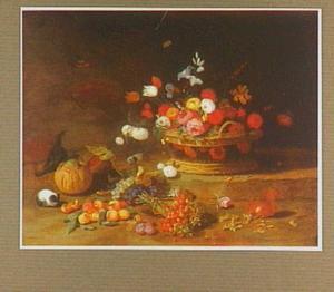 Stilleven van bloemen in een mand en vruchten los op de voorgrond; met een eekhoorn, een vogeltje en marmotten