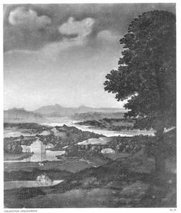 Panoramisch landschap met grazende ezel (fragment van een Rust op de vlucht naar Egypte)