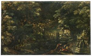 Nachtelijk boslandschap met Pyramus en Thisbe (Metamorfosen 4:55-166)