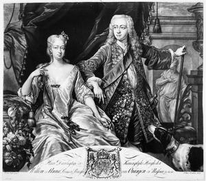 Dubbelportret van prins Willen IV van Oranje-Nassau (1711-1751) en prinses Anna van Hannover (1709-1759)