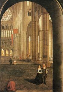 Gezicht in het noordtransept van Westminster Abbey in Londen