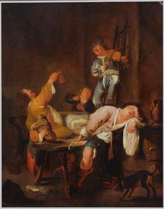 Feestvierend gezelschap in een herberg met een slapende figuur op de voorgrond