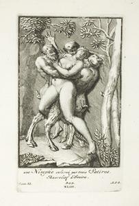 Drie saters ontvoeren een nimf (pl. XLIII)