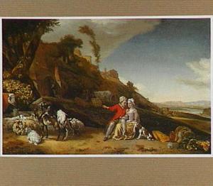 Zuidelijk landschap met een jong paar bij een kudde vee