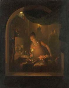 Keuken bij lamplicht