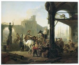 Zuidelijke haven met koopvrouw die elixer verkoopt