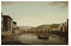 Zicht op Florence vanaf Ponte Vecchio rivieropwaarts