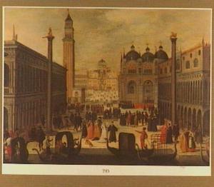 Gezicht op het Dogenpaleis en het San Marcoplein te Venetië