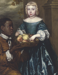 Portret van een onbekend meisje, met een bediende