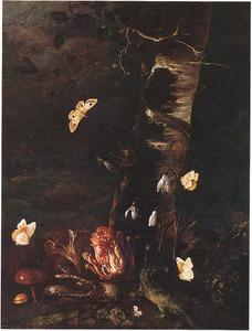 Bosstilleven met sneeuwklokjes, paddestoelen en reptielen bij een berkestam, omringd door vlinders
