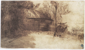 Een hut half verscholen in het geboomte