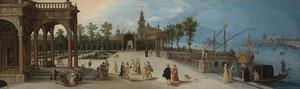 Elegant gezelschap op een terras in een op Venetië geïnspireerde omgeving