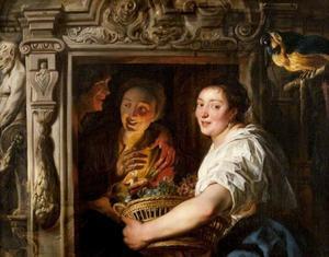 De fruitverkoopster met een mand fruit en een amoureus paar