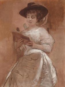 Portret van Cilli Jettel - Mailer, vrouw van Eugen Jettel