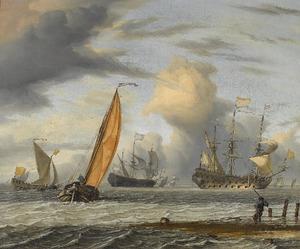 Hollandse schepen op een onrustige zee, op de voorgrond een visser