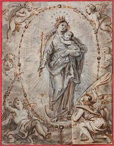Maria met kind omringd door engelen en cherubijnen