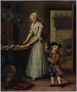 Keukeninterieur met een jonge vrouw die vis schoonmaakt met naast haar een jongetje met een stokpaard