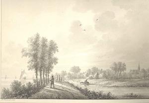 Tuil, gezicht op het dorp met links de Waal