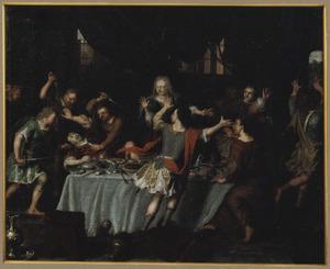 Absalom laat zijn halfbroer Amnon tijdens de maaltijd vermoorden  (2 Samuel 13:28)