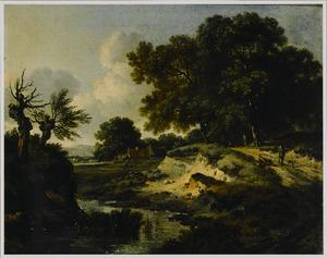 Landschap met een wandelaar in gesprek met een rustende reiziger op een landweg