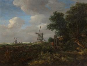 Bebost landschap met een brug over een sloot, drie molens in de achtergrond