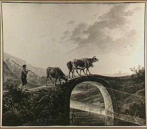 Herder met drie runderen op een brug in een heuvelachtig landschap