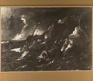 Jona door de onwillige zeelieden overboord gegooid (Jona 1:13-17)