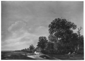 Boslandschap met een boerenkar op een weg langs een rivier