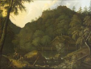 Bergachtig landschap met boerderij