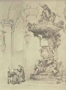 Preekstoel in de Onze-Lieve-Vrouw van Hanswijk basiliek in Mechelen