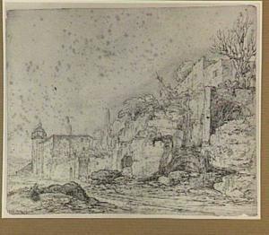 Italianiserend stadsgezicht met ruïnes