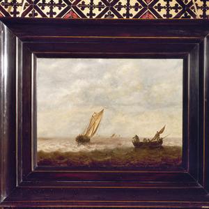 Zeegezicht met enkele schepen