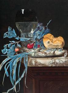 Stilleven met roemer, brood, kersen, vis en uien