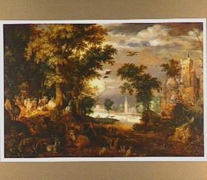 Boslandschap met dieren en een kasteel