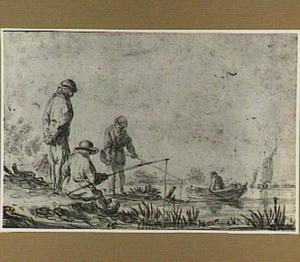 Vissers aan een rivieroever