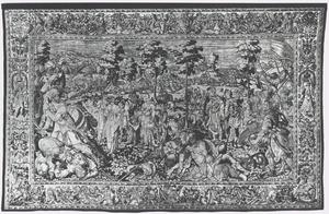 Tomyris doopt het hoofd van Cyrus in een zak met bloed