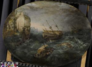 Schipbreuk van verscheidene schepen op een rotsachtige kust