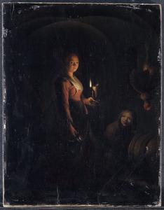 Dienstmeid met jongen in kelder met lamplicht