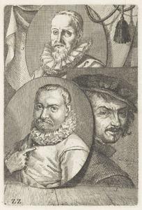 Portretten van  Aart Jansz. Druyvestein (1577-1627), Roelant Savery (1576-1639) en een man, genaamd Frans Hals (....-1666)