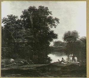 Boslandschap met badende figuren bij een rivier