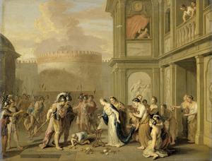 Koningin Kleophis biedt Alexander de Grote wijn aan na de verovering van Mazagae (Quintus Curtius Rufus 8.10.34-45)